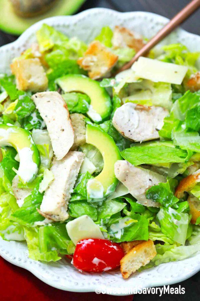 tossed avocado chicken Caesar salad