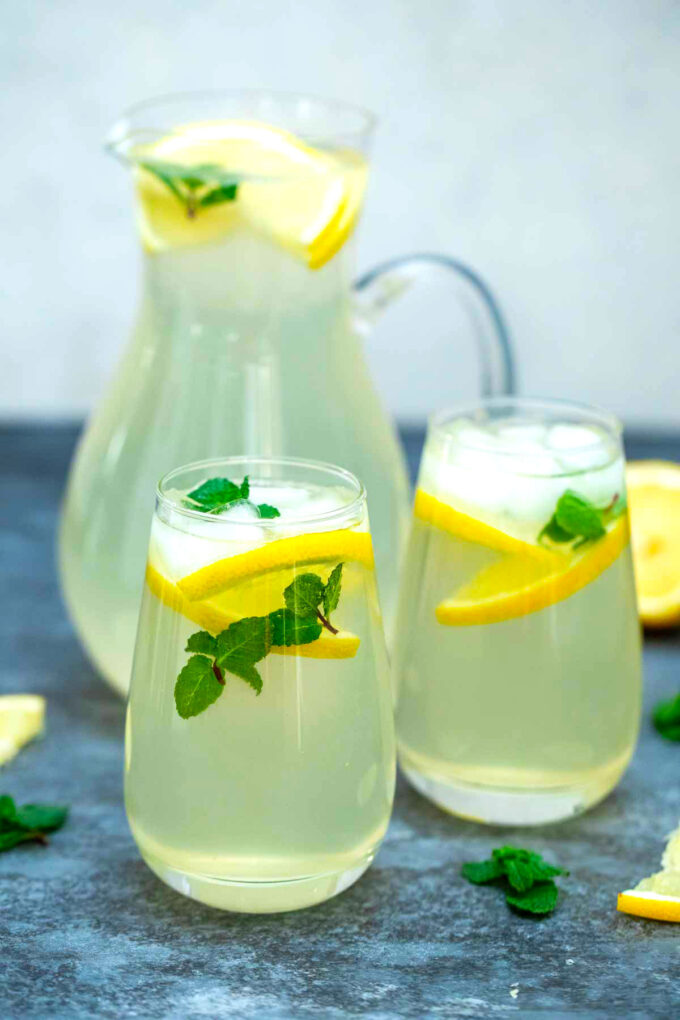 Image of homemade lemonade in a pitcher.