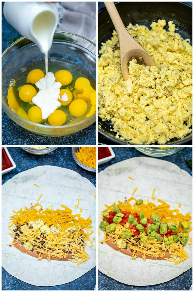 Picture of how to make a breakfast burrito.