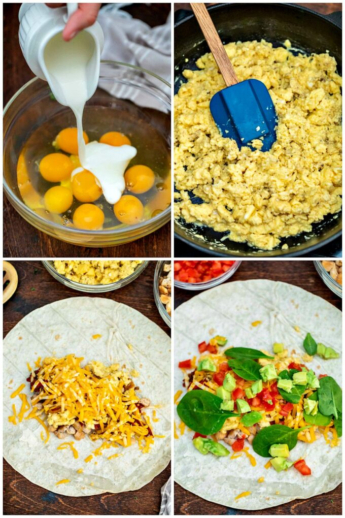 Photo of how to make California chicken breakfast burrito.
