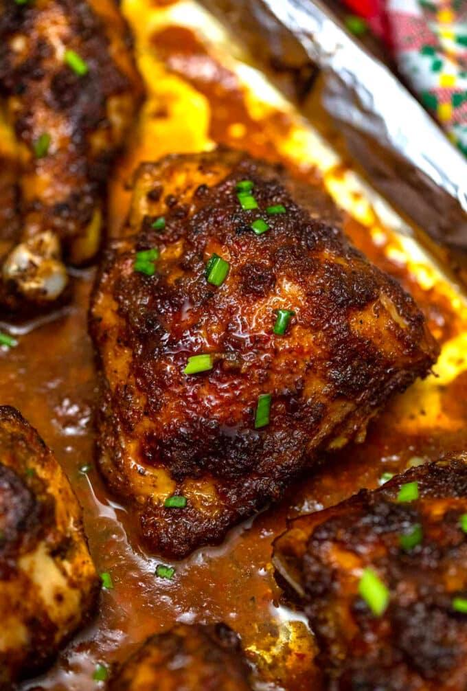Photo of baked Jamaican jerk chicken.