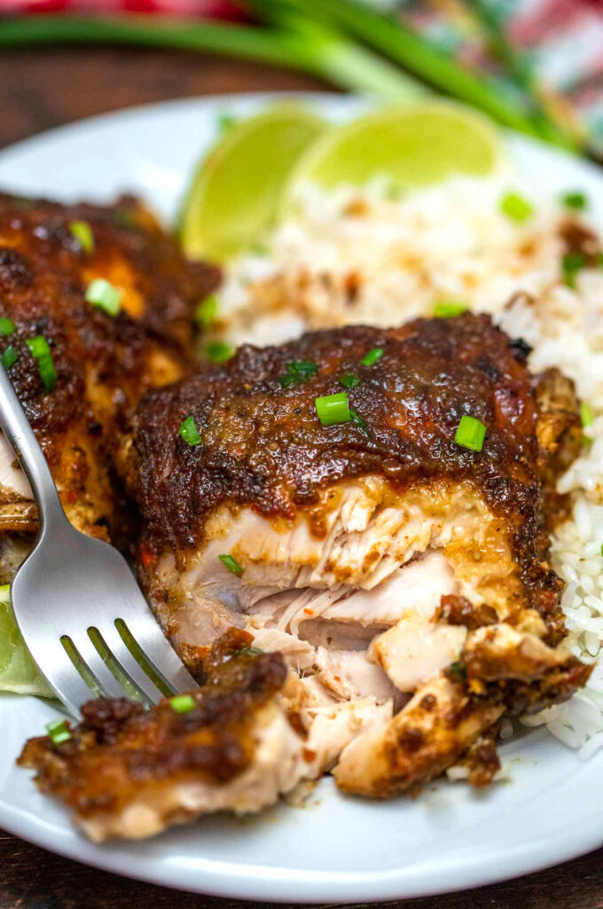 Image of homemade jerk chicken and rice.