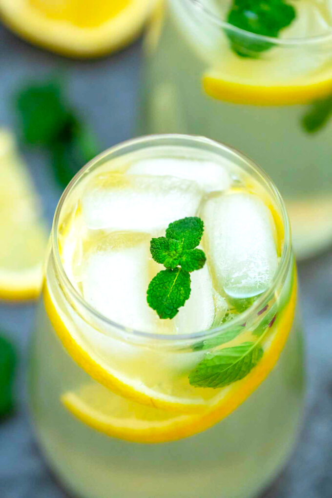 Image of lemonade with ice lemon and mint.