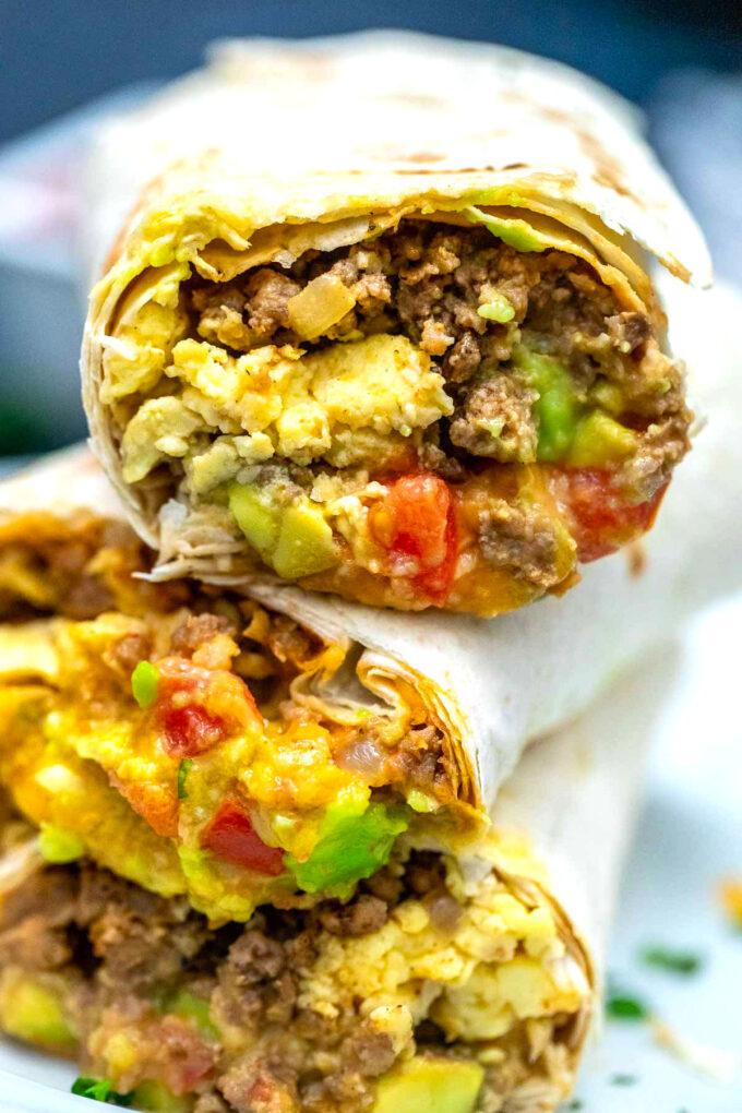 Photo of Mexican taco breakfast burrito.