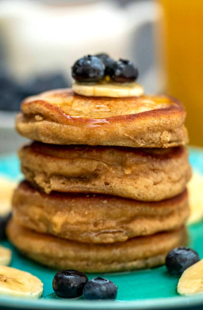 Photo of homemade oatmeal pancakes.