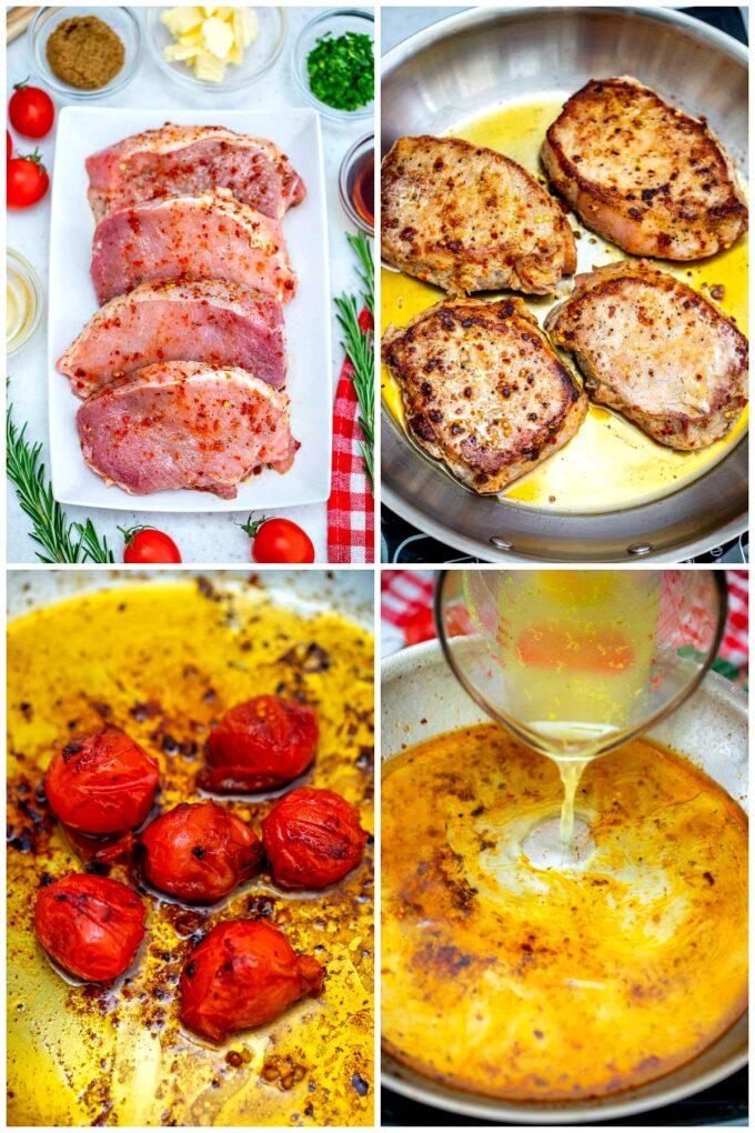 Image of skillet pork chops recipe ingredients and steps.