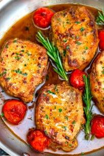 Image of skillet pork chops in sauce.