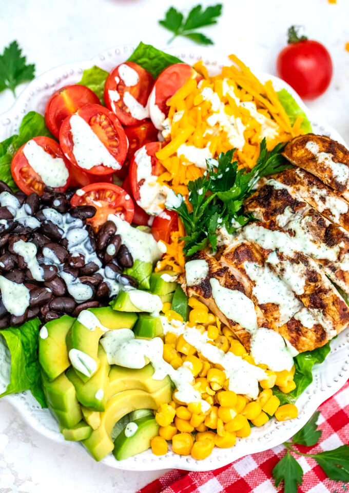 Photo of southwest salad with chicken.