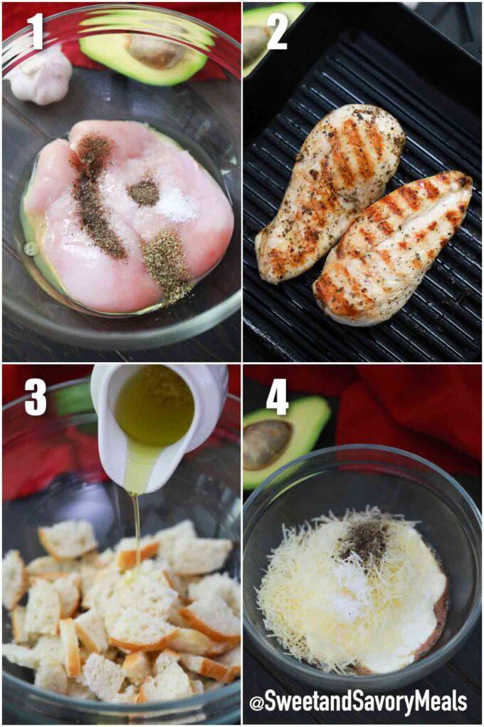 steps how to make avocado chicken Caesar salad