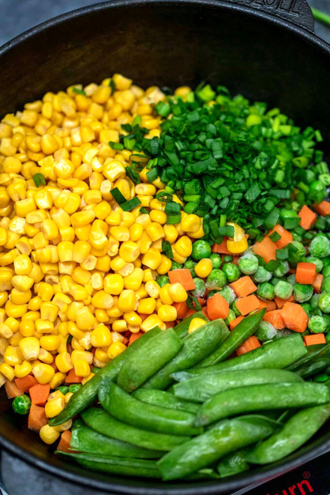 Image of mixed veggies for fried rice recipe.
