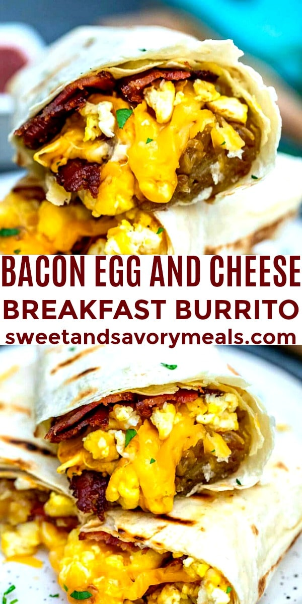 Image of Bacon Egg and Cheese Breakfast Burrito.