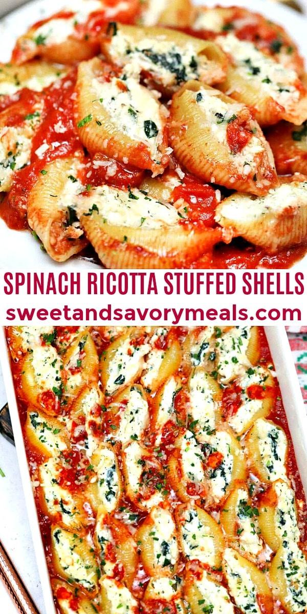 Spinach ricotta stuffed shells collage.