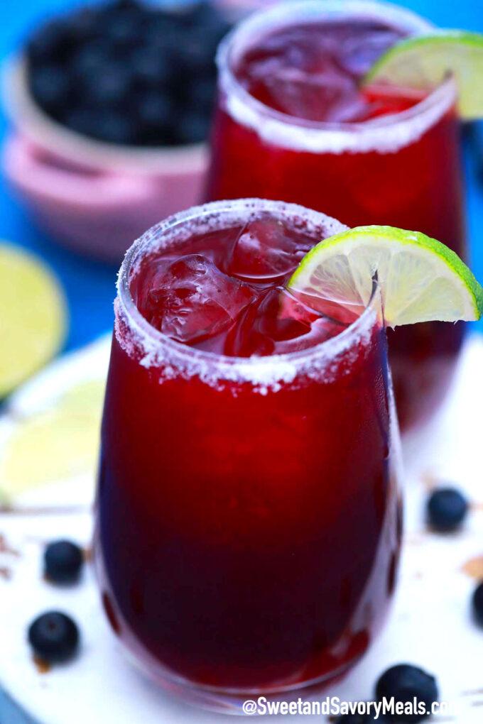 Photo of blueberry margarita recipe.