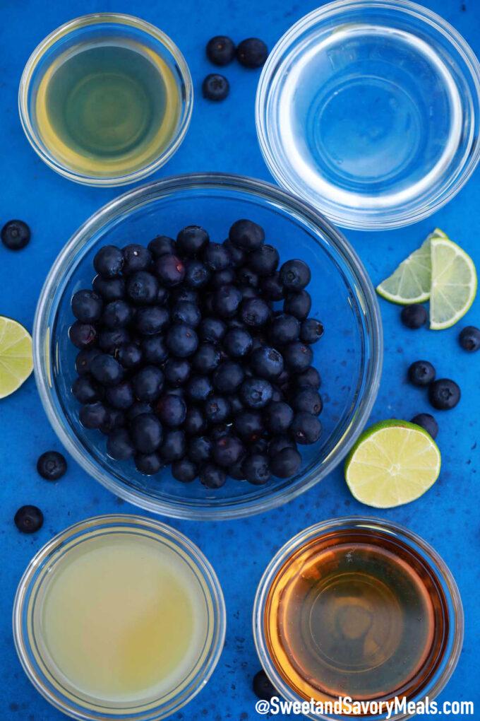Photo of blueberry margarita ingredients.
