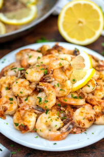 Photo of a plate of lemon pepper shrimp.
