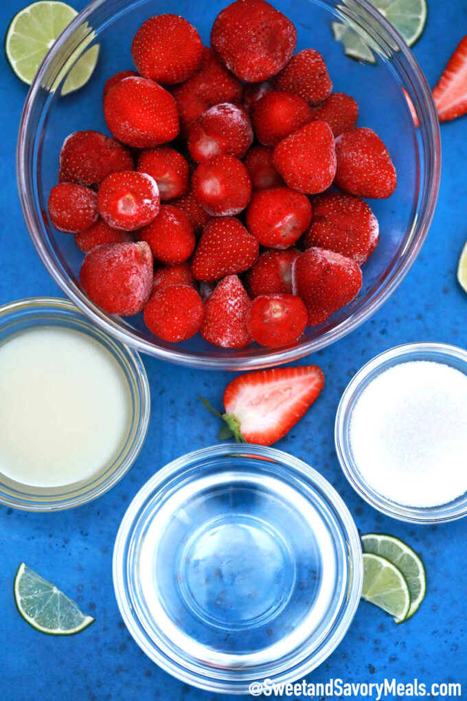 Image of frozen strawberry daiquiri ingredients.