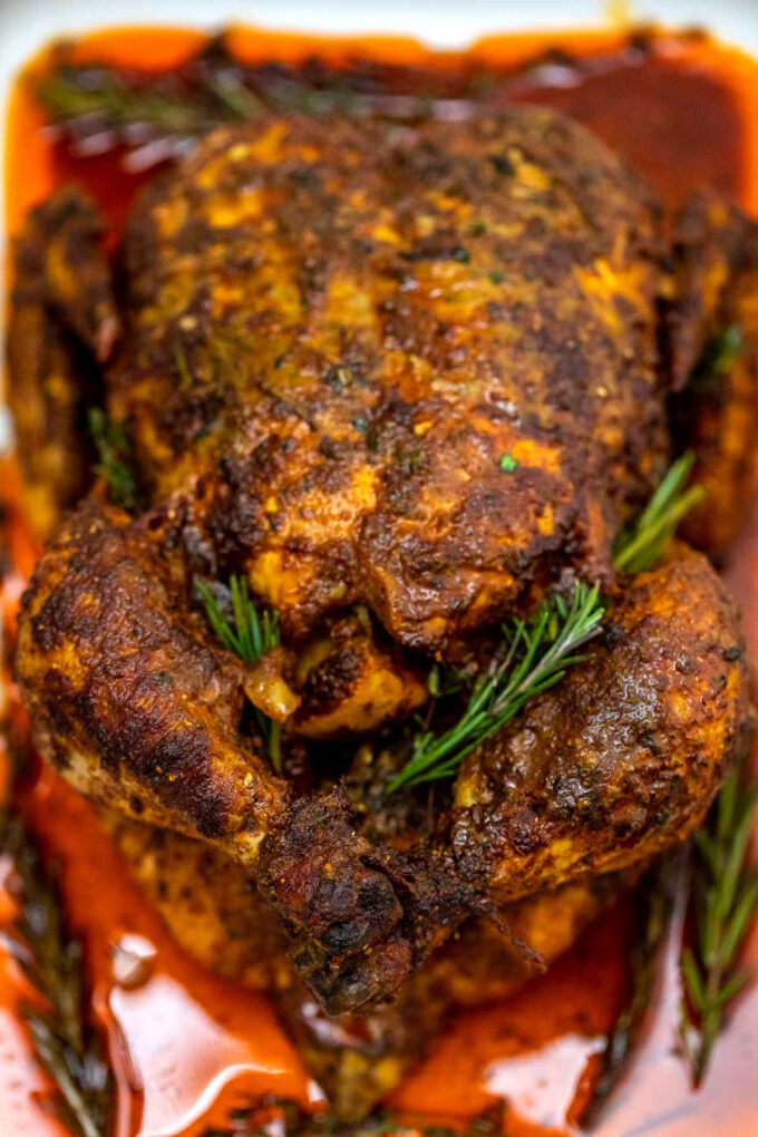 Photo of whole garlic butter roasted chicken.