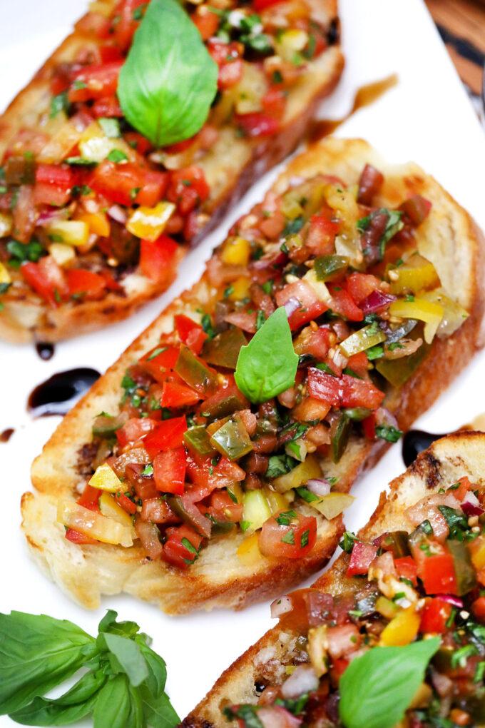 Picture of Italian tomato bruschetta on a plate.
