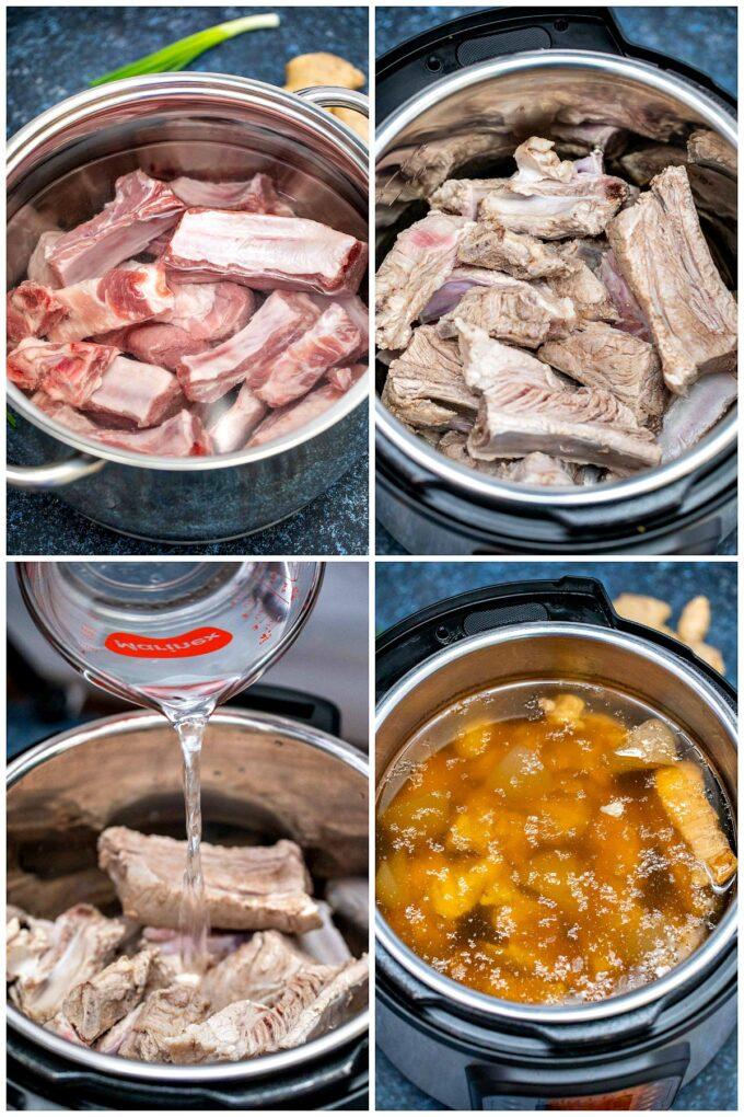 Photo of how to make instant pot Tonkotsu ramen.