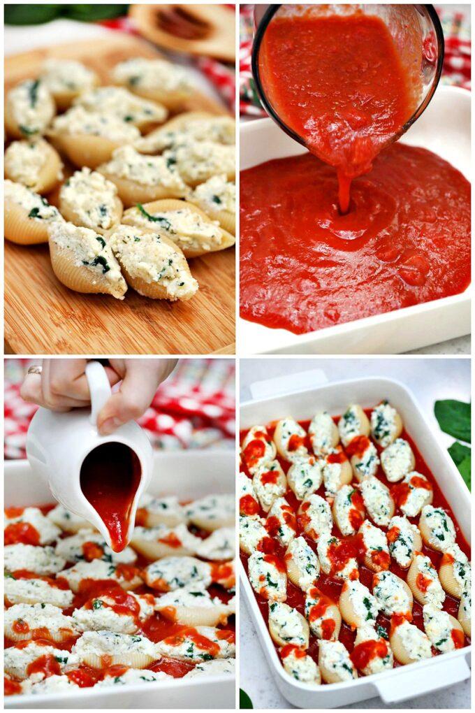 Ricotta stuffed shells recipe steps.