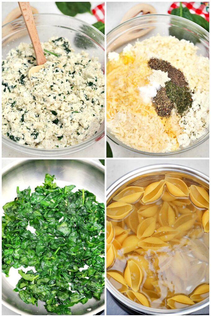 Steps on how to make spinach ricotta stuffed shells.