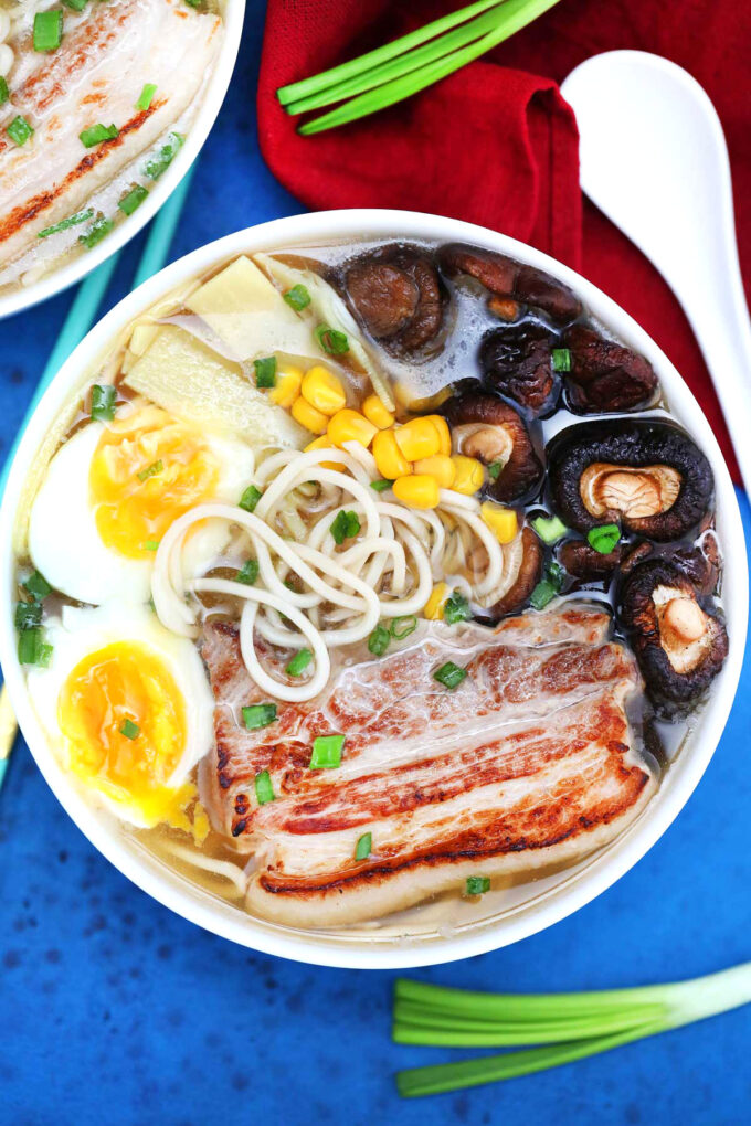 Picture of homemade Tonkotsu ramen with chashu pork belly and soft boiled eggs.