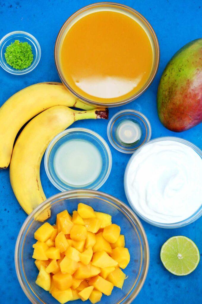 Photo of mango smoothie ingredients.