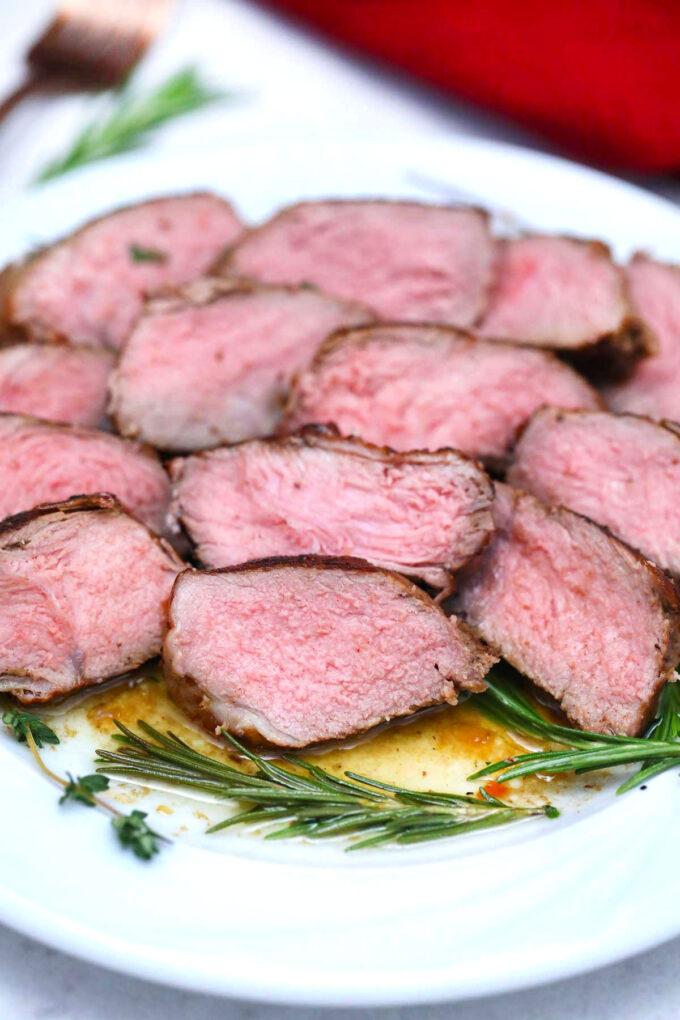 Photo of sliced pan seared steak.