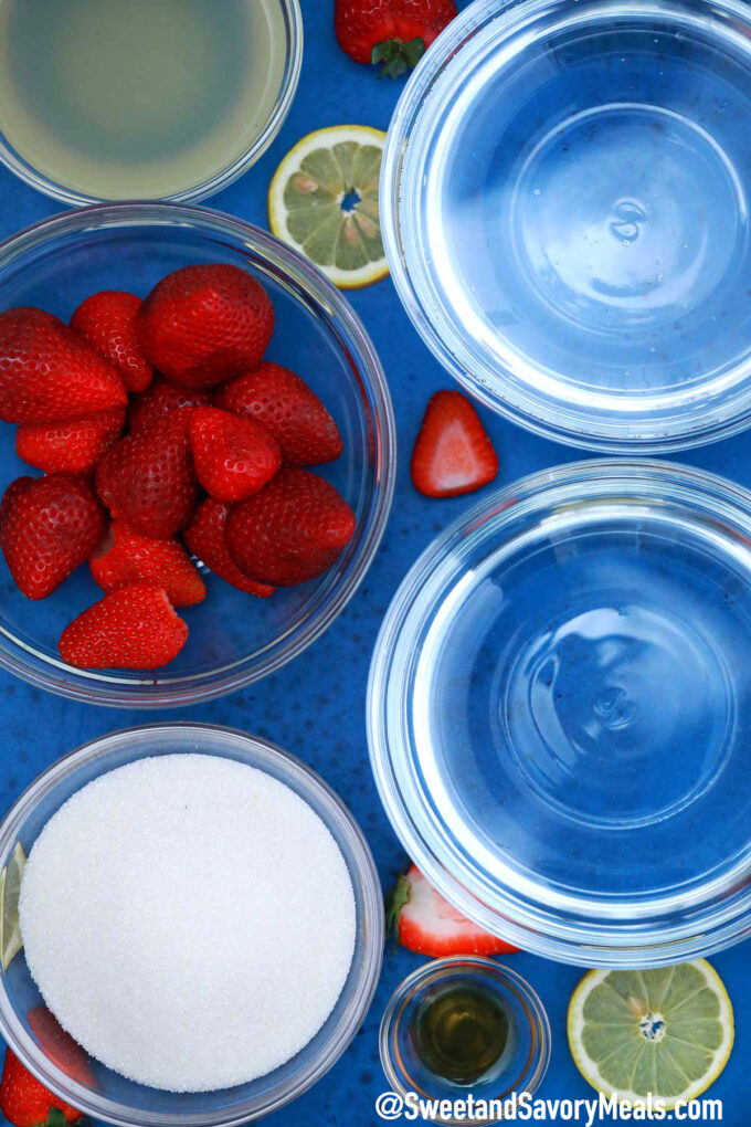 Image of strawberry lemonade ingredients.