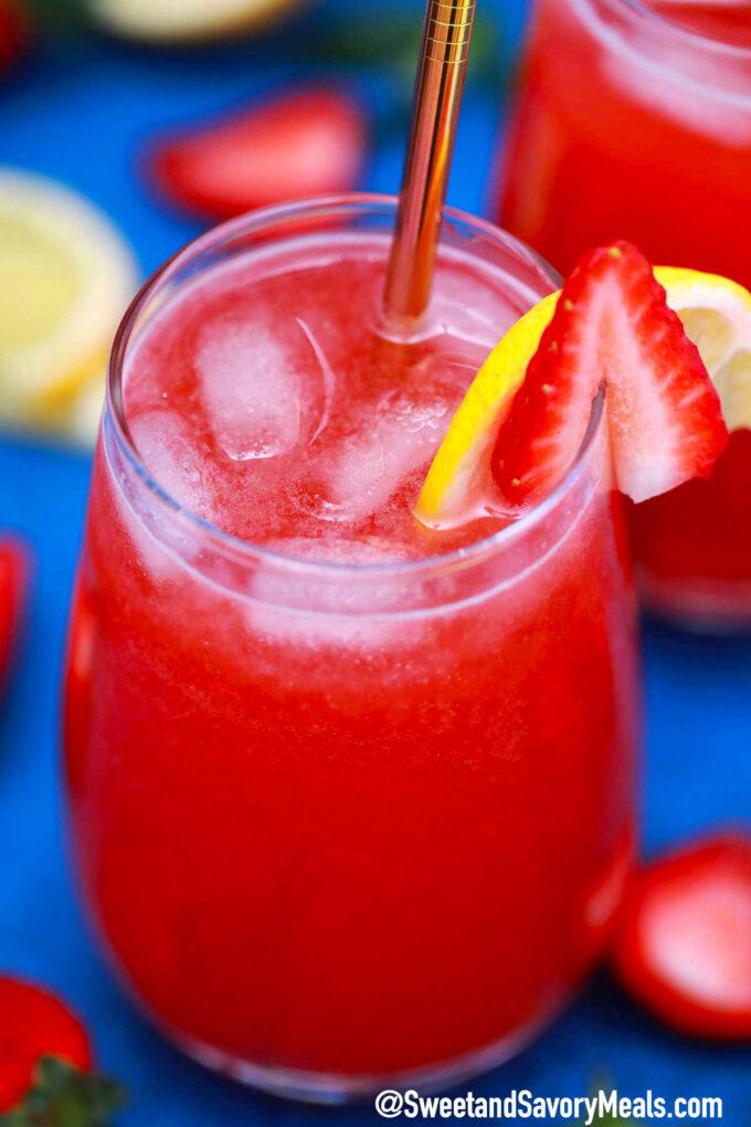 Photo of sparkling strawberry lemonade.