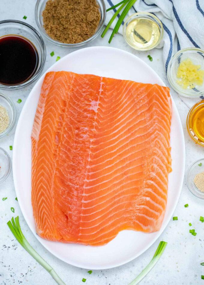 Photo of teriyaki salmon ingredients.