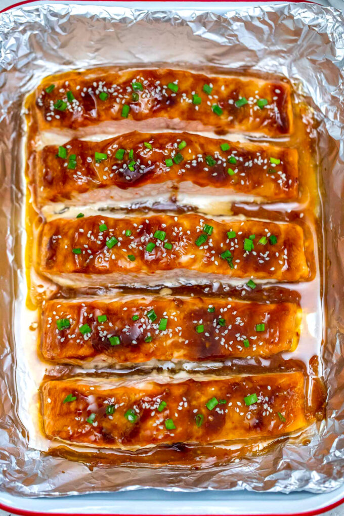 Picture of baked teriyaki salmon.