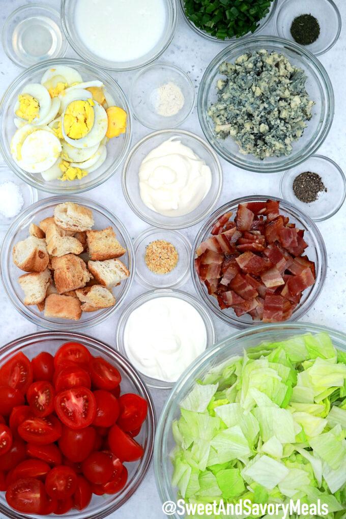 Image of BLT salad ingredients.