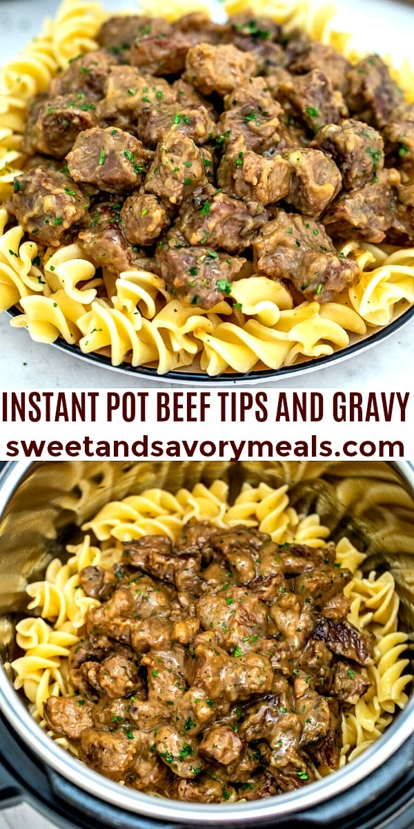 easy instant pot beef tips and gravy pin