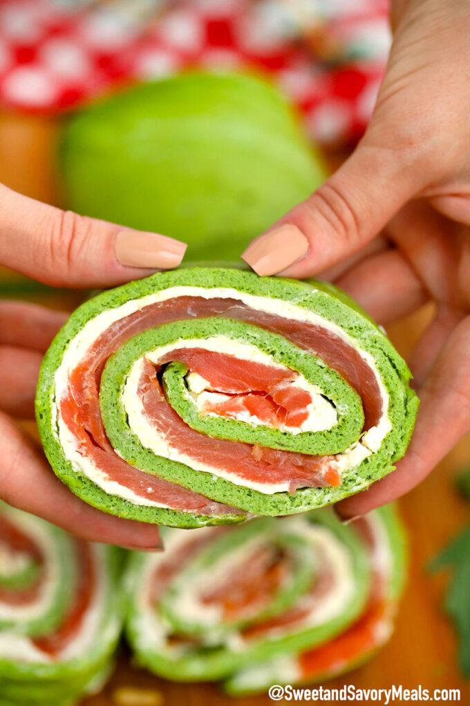 Photo of Keto arugula salmon roll with cream cheese.