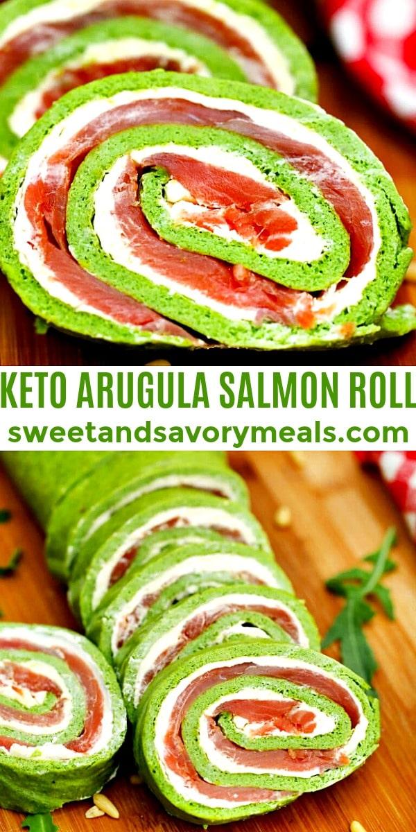 Picture of Keto Arugula Salmon Roll.