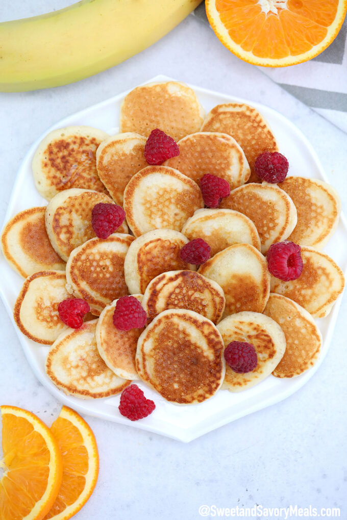 Image of a plate of mini pancakes.