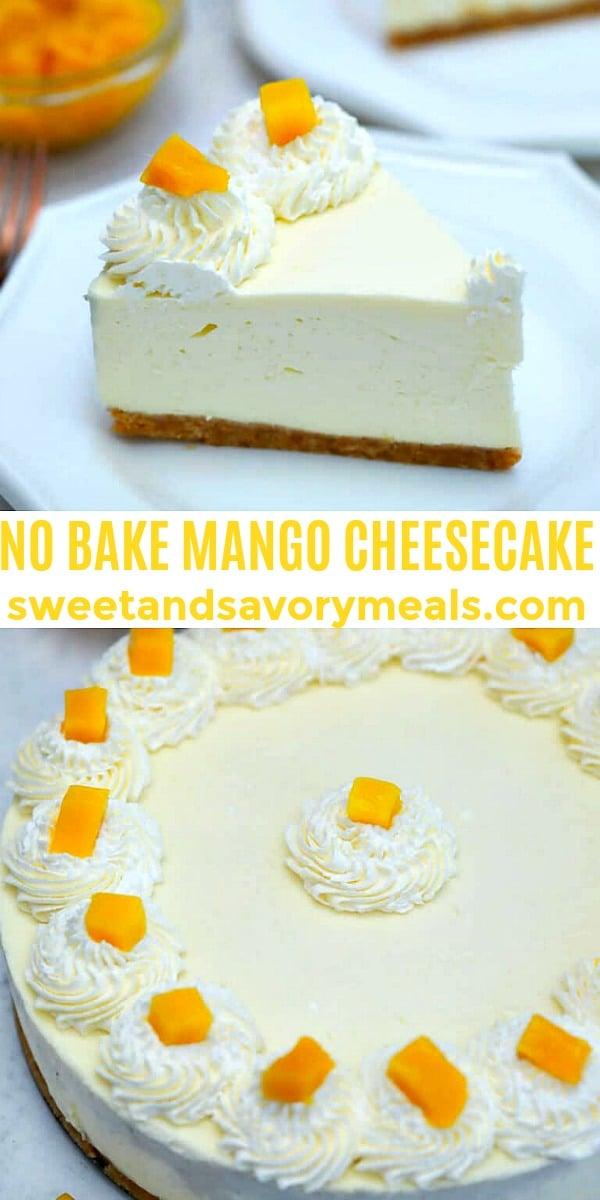 Easy No Bake Mango Cheesecake pin