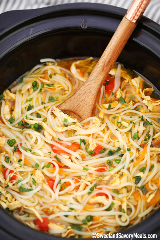 Image of slow cooker asian chicken noodle soup.