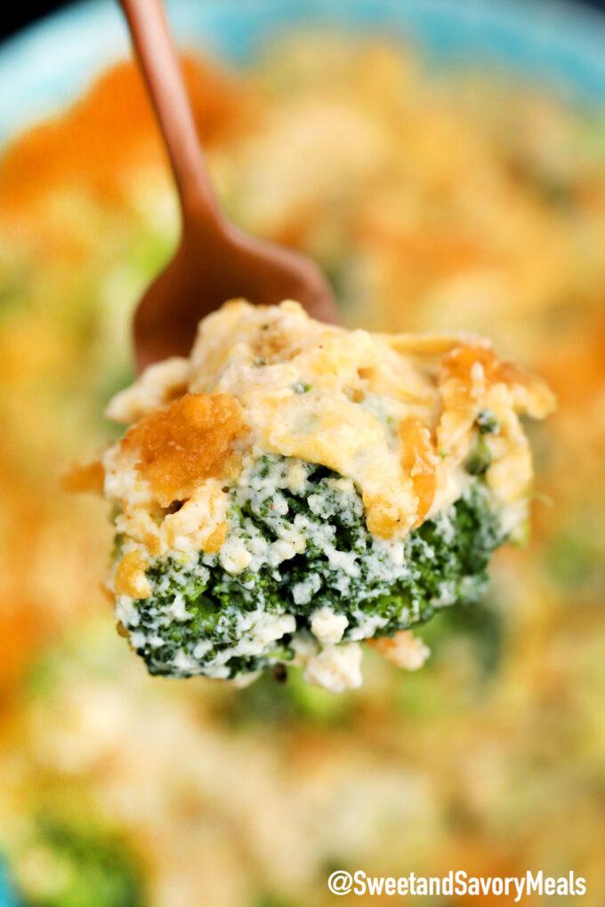 Image of creamy broccoli casserole.