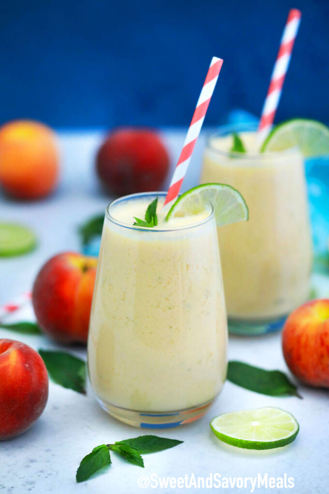 Photo of peach smoothie.
