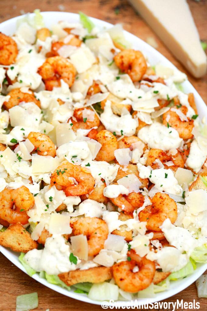 Photo of shrimp Caesar salad.