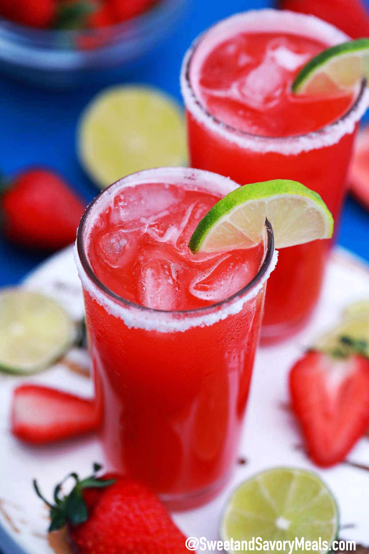 Strawberry Margarita Drink Recipe Easy Homemade Video Sweet And Savory Meals