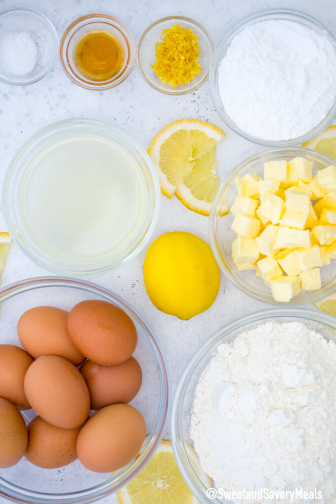 Picture of lemon bars ingredients.