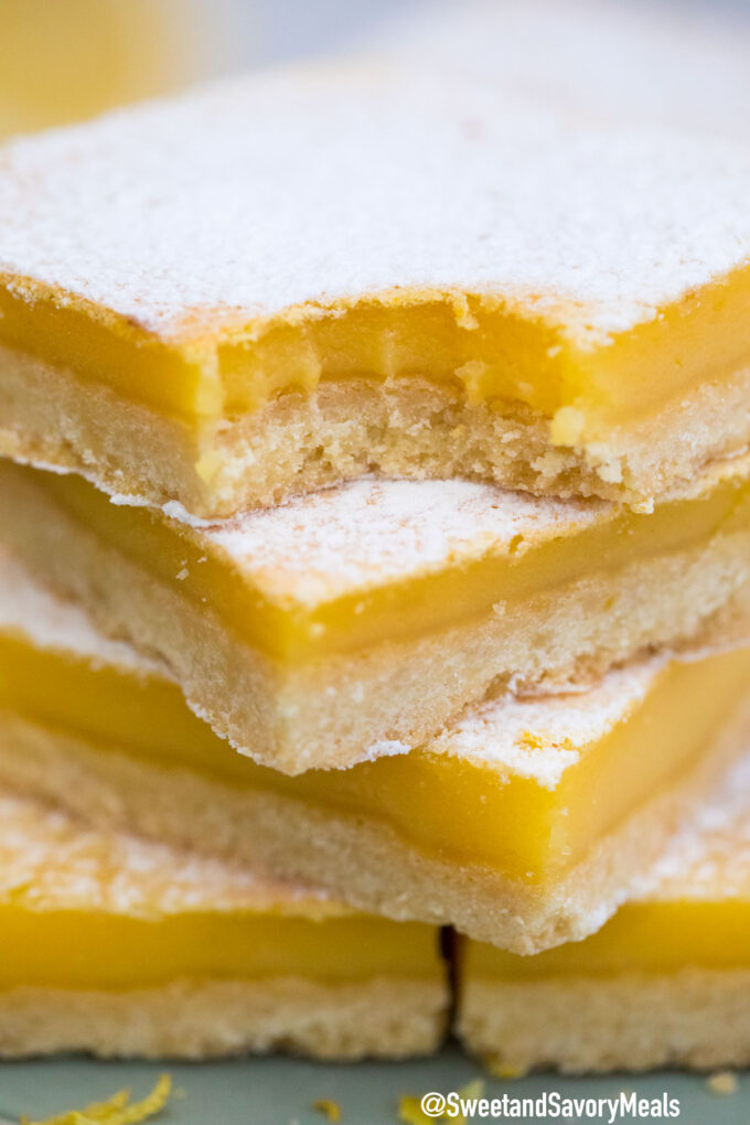 Photo of homemade lemon bars with buttery crust.