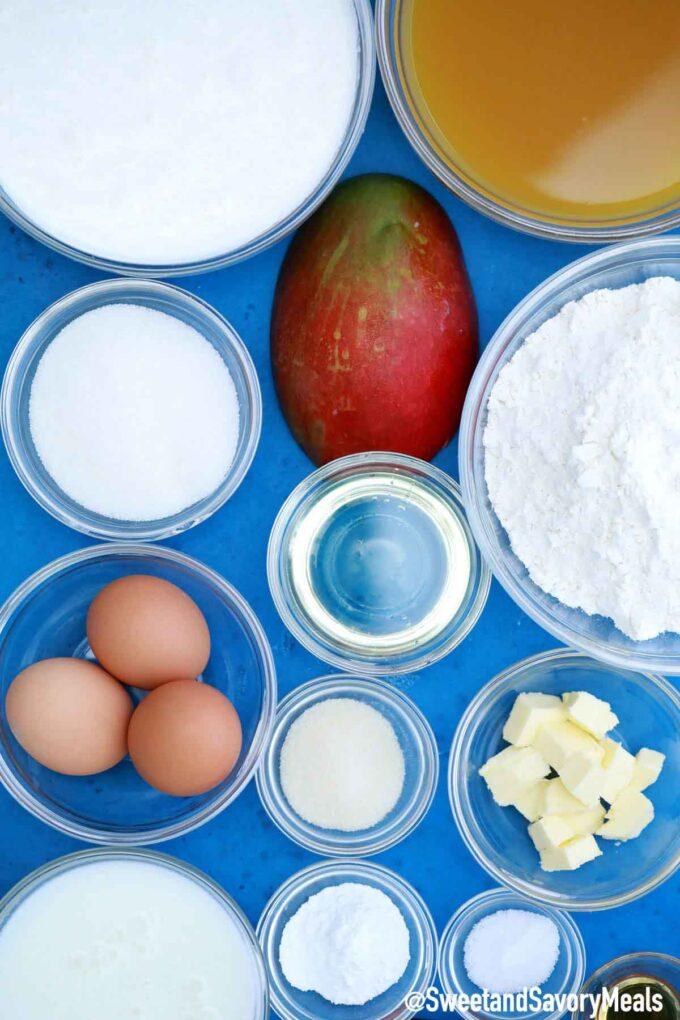 Mango mousse cake ingredients.