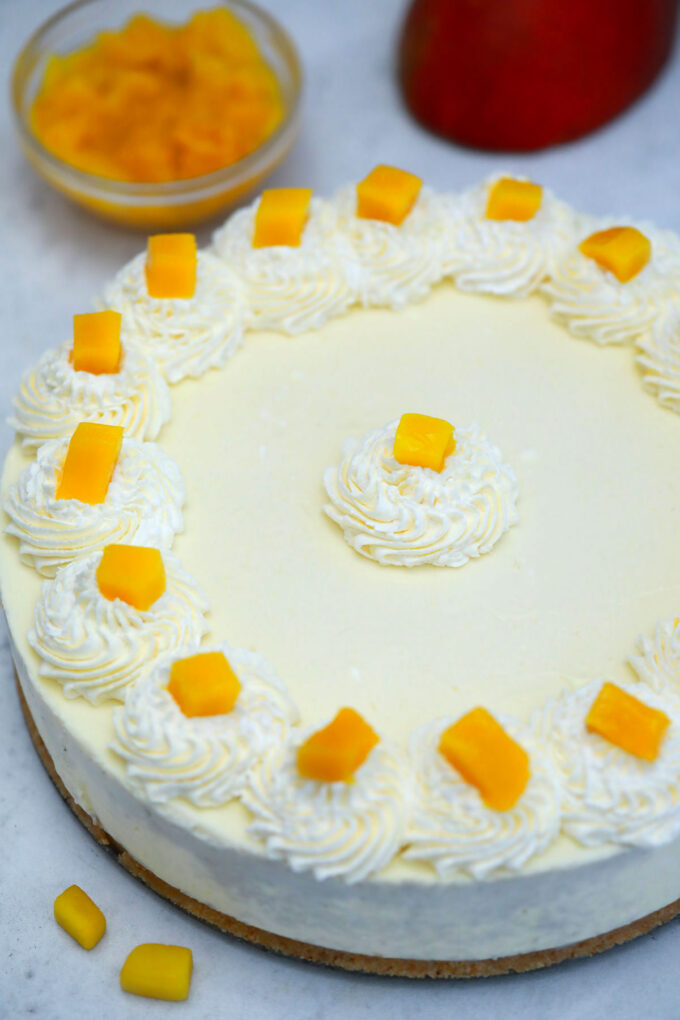Picture of no bake mango cheesecake recipe.