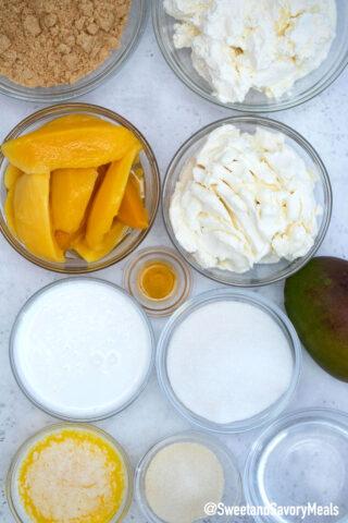 Image of no bake mango cheesecake ingredients.