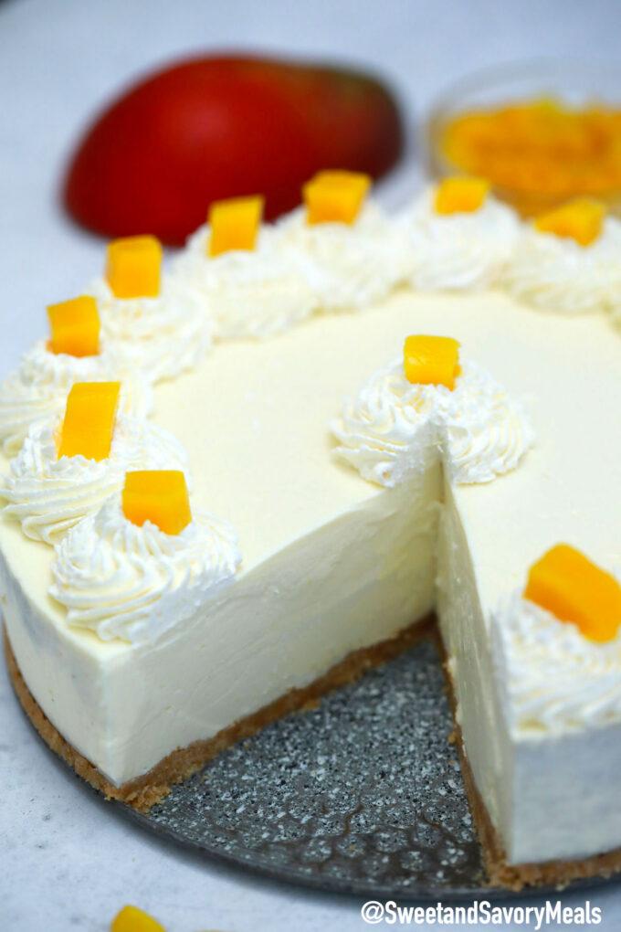 Image of no bake mango cheesecake.