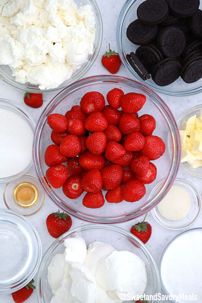 Photo of No Bake Strawberry Cheesecake ingredients.